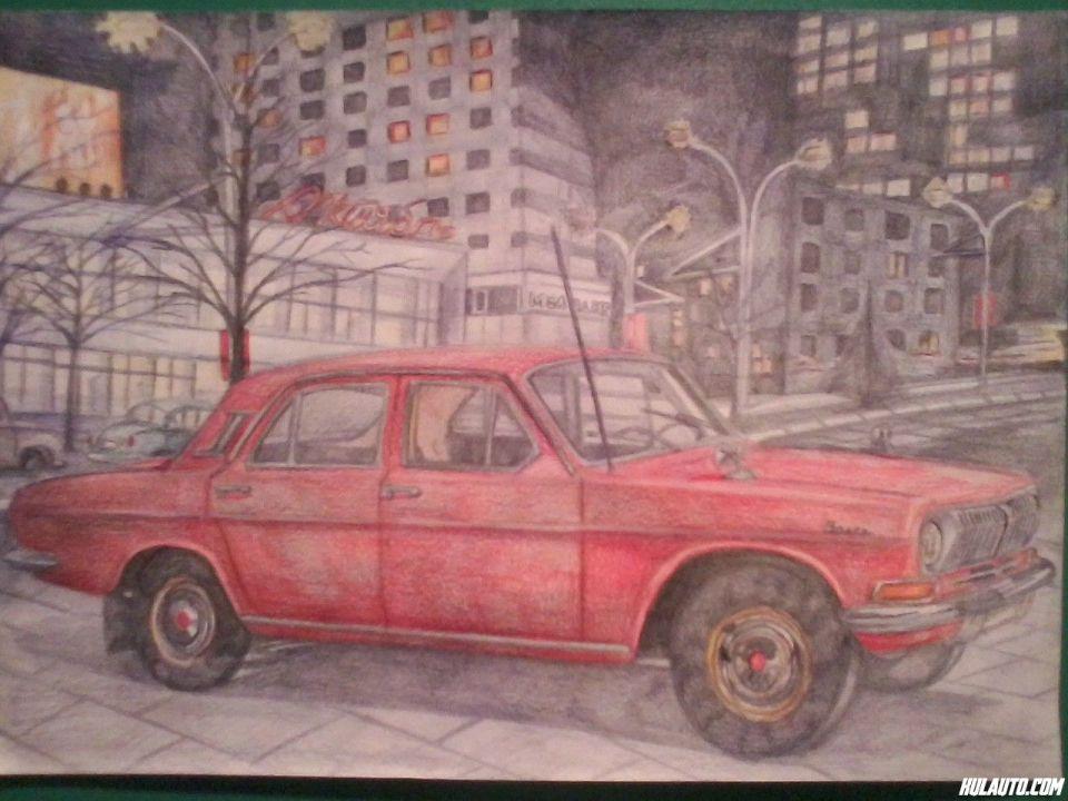 Volga 24 iz 1970. crtana prema slici koja je koriscena na propagandnim materijalima ovog modela. U srecnija vremena kada je Jugoslavija bila cela, trgovina sa SSSRom cvetala, a benzin bio jeftiniji, ovakvu, samo sivkasto-zelenu vozio je moj deda. Ako vam se dopada ovaj crtež, radim po narudžbini.